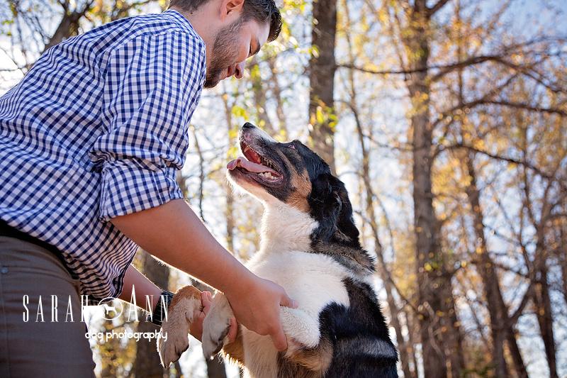 image-man-with-dog-SarahAnn-Dog-Photography, happy dog image, bernese dog smiling image,