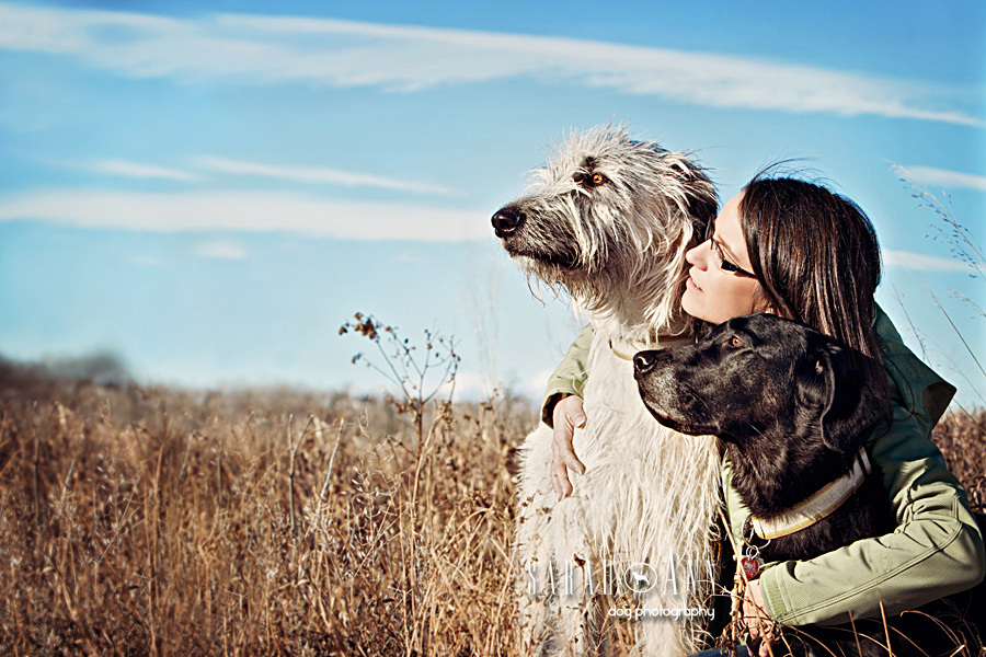 Irish_wolfhound_Black_Lab_Woman_image_SarahAnn Dog Photography