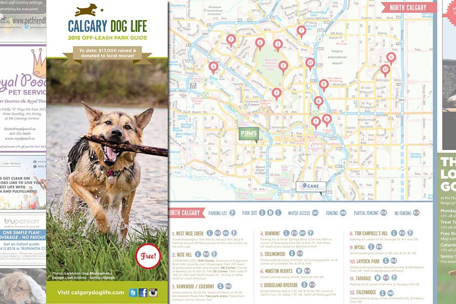 calgary dog life off-leash park guide map, calgary dogs, dog park